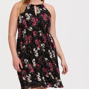 Torrid Black & Pink Floral Halter Dress Size 3